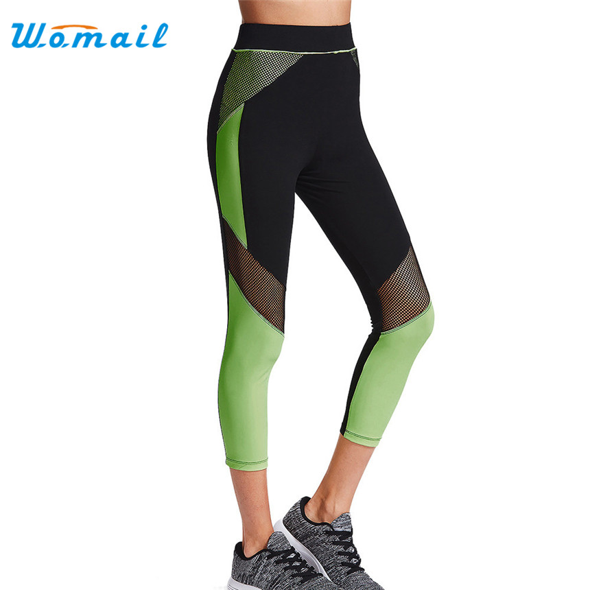 Womail High Waist Yoga Sports Running Pants Women Patchwork Yoga Pants Elastic Gym WorkOut Fitness Sport Leggings Gifts 1PC