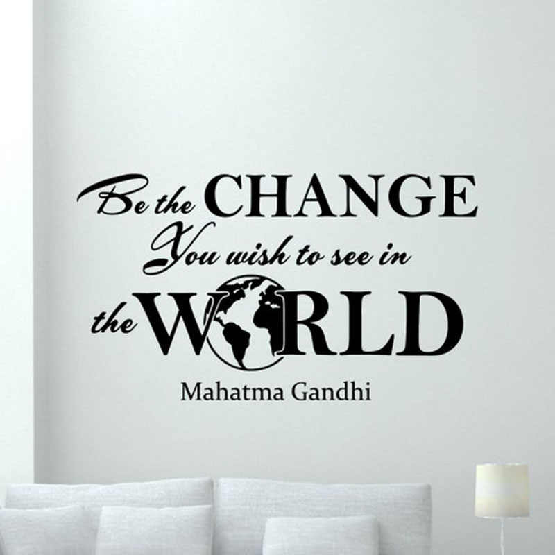 Mahatma Gandhi Quote Wall Decal Be The Change You Wish To See In The World Poster Vinyl Sticker Inspirational Decor Mural X49 Wall Stickers Aliexpress