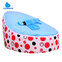 Levmoon Medium Red Circle Print Bean Bag Chair Kids Bed For Sleeping Portable Folding Child Seat