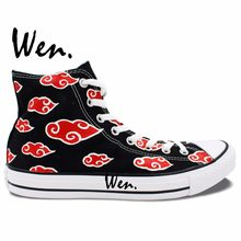 6ac85883c5b24d Wen Hand Painted Shoes Design Custom Anime Sneakers Naruto Akatsuki Black  High Top Men Women s Canvas Sneakers