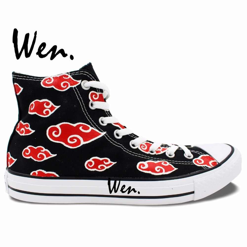 Wen Diseno De Zapatos Pintados A Mano De Anime De Naruto Akatsuki Negro Top Hombres De Lona De Las Mujeres Zapatillas De Deporte Shoes Winter Women Shoes Women Loafersshoes Women Shoes Aliexpress