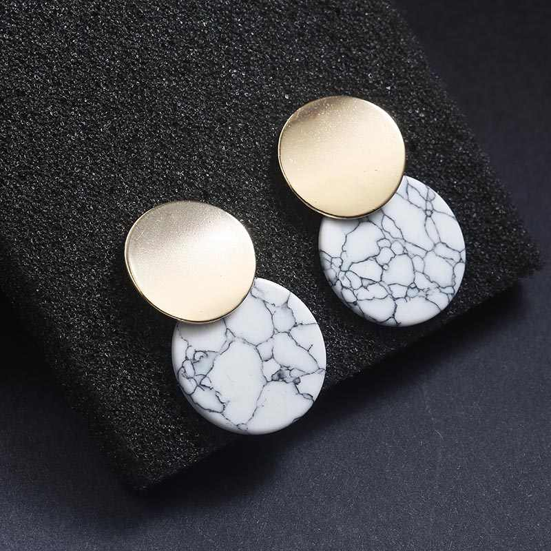 New Arrival Unique Black Trendy Double Round Drop Earrings With Natual Stones Metal Statement Earrings for Women Fashion Jewelry