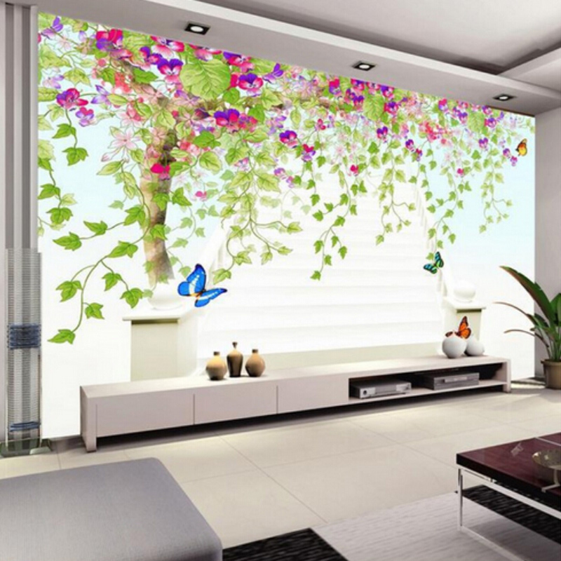 . US  8 92 52  OFF Custom Photo Wall Paper 3D Flower Vine Tree HD Large Wall  Painting Wallpaper Modern Living Room Bedroom Non woven Wallpaper in