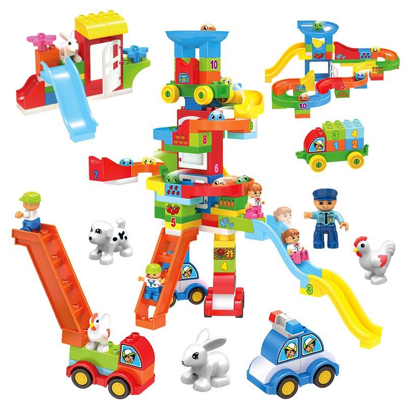 Amusement Park Slideway Building Blocks Playground Set Suit for Big Size DIY Figures Bricks Toys Children