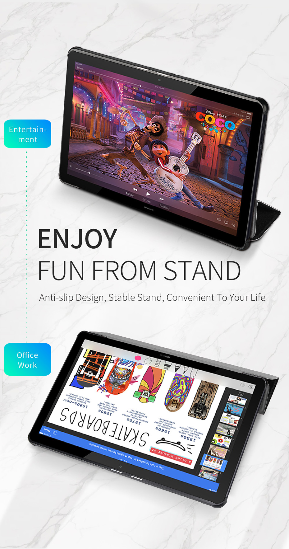 Leather Case For Huawei Mediapad T5 Luxury Stand Smart Folio Cover For Huawei Mediapad T5 T 5 10.1