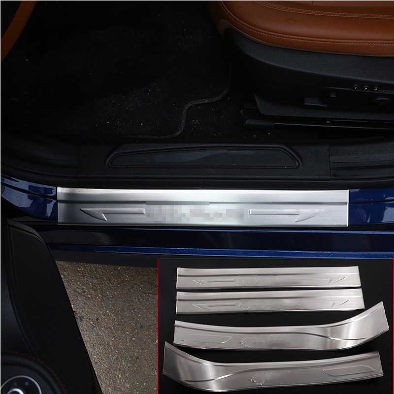Car Accessories 4pcs 304 Stainless Outside Door Sill Scuff Threshold Protector Plate Cover Trim For Alfa Romeo Giulia 2017 2018