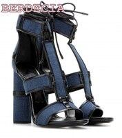 Summer Newest High Heel Sandals Women Blue Denim Shoes Sexy Open Toe Thick Heels Sandal Ladies
