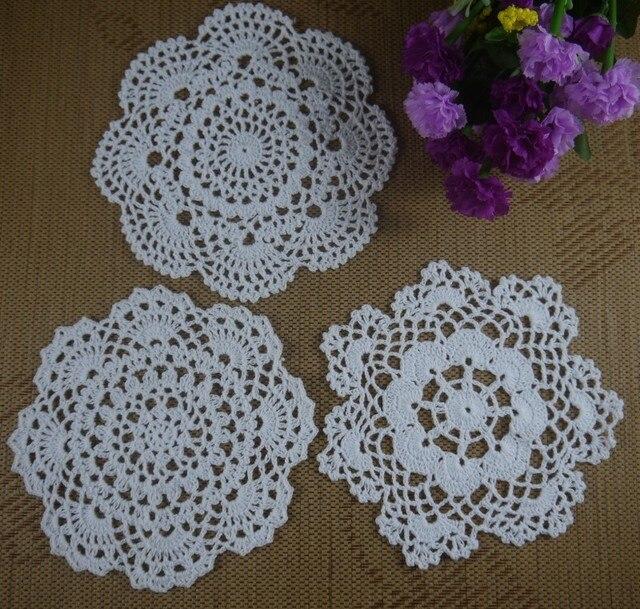 Free Shipping 60pcs Handmade Crochet Pattern Doily 3 Designs Cup Pad
