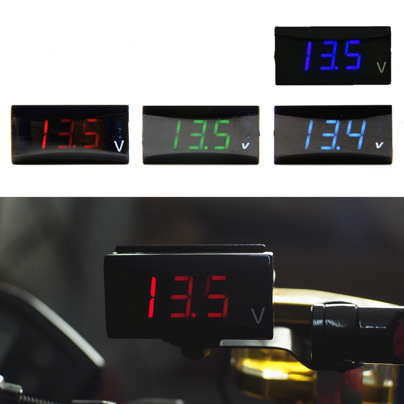 12V waterproof LED digital display voltmeter tester panel motorcycle voltmeter For Yamaha Honda Kawasaki Suzuki oem odm standard waterproof led display panel for p5 p10 320mm 160mm led modules box size 960mm 480mm