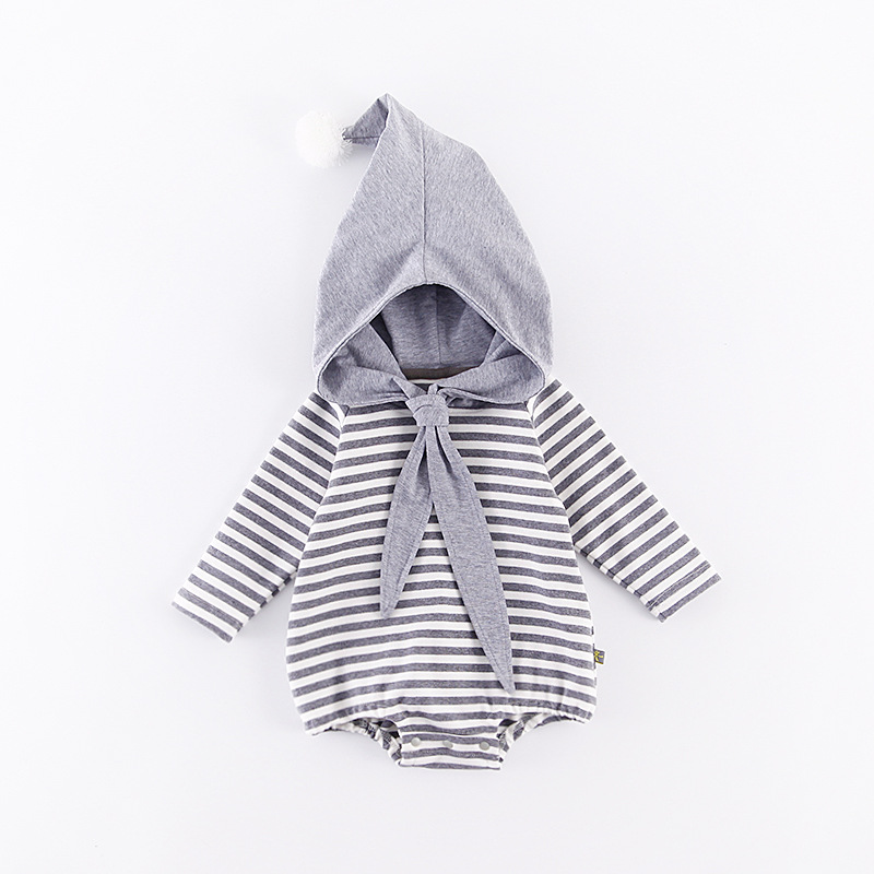 Spring Striped Baby Sets Navy Style Long Sleeve Bodysuits+Shaped Hat 2pcs Suit Crew Clothing Sets Girls Boys Two Pieces Suits