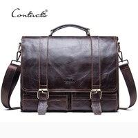 CONTACT'S 2018 Для мужчин ретро Портфели Бизнес сумка кожаная сумочка Сумка для портативного компьютера Курьерские сумки Для мужчин с дорожные су