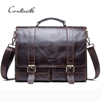 CONTACT S 2017 Men Retro Briefcase Business Shoulder Bag Leather Handbag Bag Computer Laptop Messenger Bags