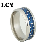 Men Stainless Steel 316L Rings Fashion Bijoux Vintage Jewelry Wedding Ring Blue Fiber Silver Wire Anel