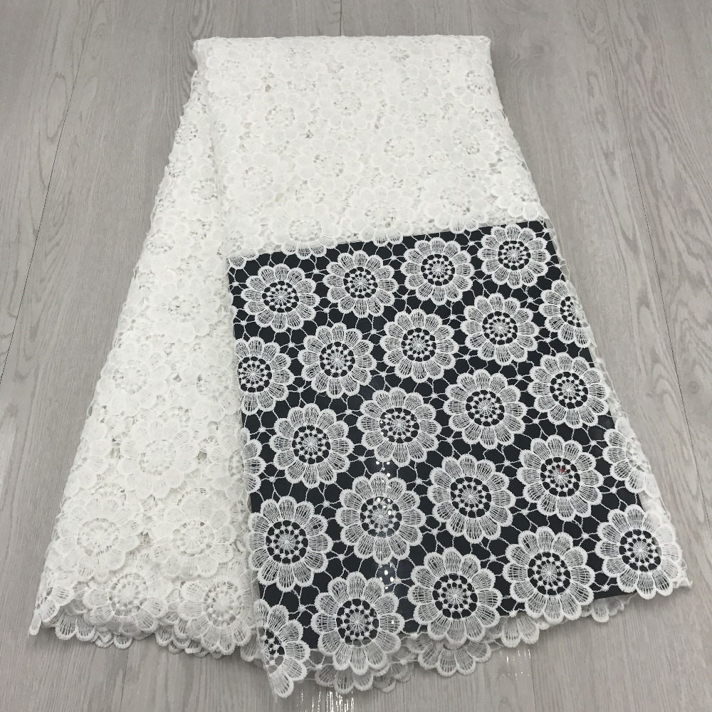 white cord lace 5yard lot african cord lace fabrics high quality african lace fabric white for