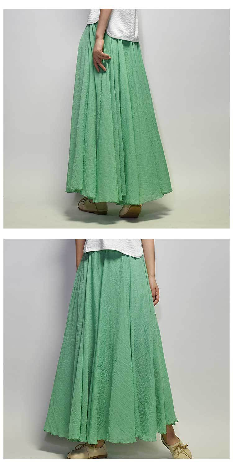 Sherhure 19 Women Linen Cotton Long Skirts Elastic Waist Pleated Maxi Skirts Beach Boho Vintage Summer Skirts Faldas Saia 25