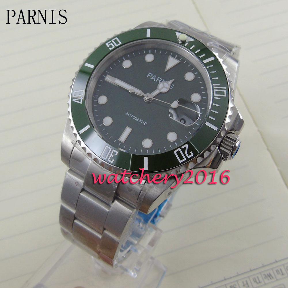 new 40mm Parnis green dial luminous markers green ceramic bezel white number sapphire glass Automatic movement Mens Watchnew 40mm Parnis green dial luminous markers green ceramic bezel white number sapphire glass Automatic movement Mens Watch