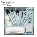 New Design Silver Makeup Brush Set Tool Powder Eye Shadow Face Blush Cosmetic Gift Travel Make Up Soft Brushes With Mirror + Bag