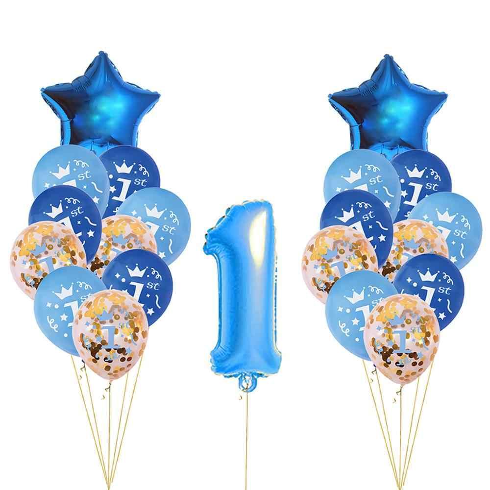 Qifu 21pcs 1st Birthday Balloons Boy One 1 Year For