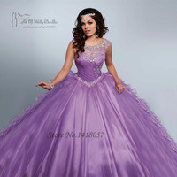 Vestidos de 15 anos Princesa Sweet 16 Masquerade Ball Dresses Puffy Turquoise Lilac Quinceanera Dresses 2017 Ruffles Crystals