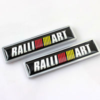1Pair Ralliart Car Emblem Fender Badge Sticker Accessories Metal Fit For Mitsubishi