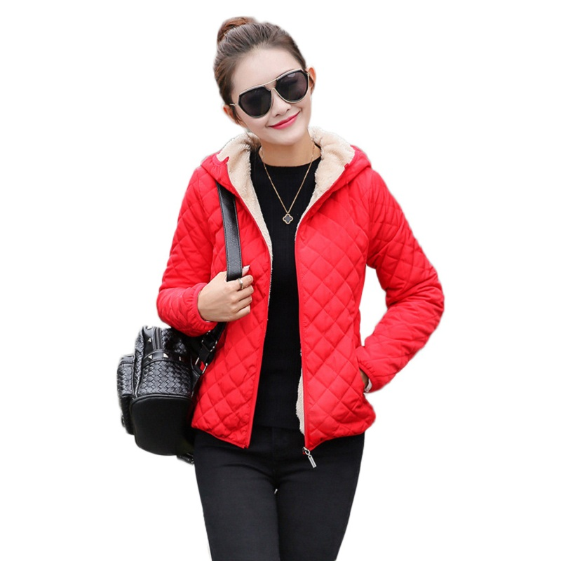 Winter Parka Women Diamond Hooded Coat Faux Lambswool Jacket Solid Ladies Cotton Padded Coat nike alliance parka 550 hooded