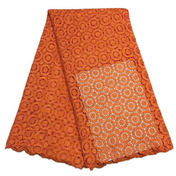 African guipure lace fabric orange water soluble lace fabric for wedding Nigerian african lace fabrics 5yards