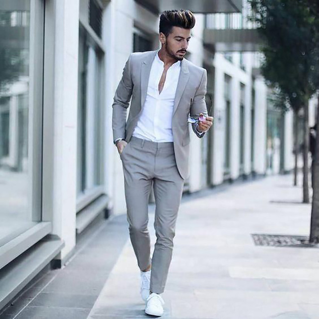 2019 Latest Grey Mens Slim Fit Suits Casual Custom Mens Business Formal Tuxedo Wedding Suits 2 Pieces Costume Homme Jacket Pants-in Suits from Men's Clothing    1
