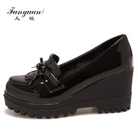 FanyuanFemale Patent Leather Increased Internal Tassel Platform Rubber Autumn Slip On High Heels Woman Black Fashion Wedges