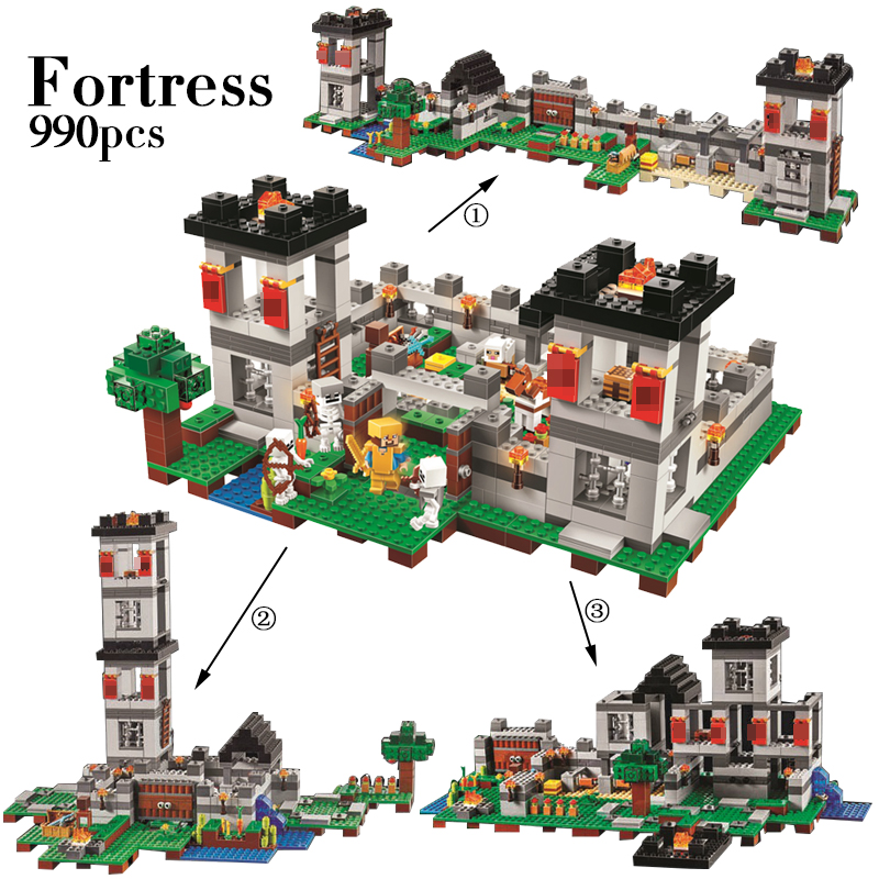990pcs My world Minecraft The Fortress 4 models action figures DIY Building Block Bricks Toy For Kids Compatible legoINGly 21127 10472 minecrafted the fortress compatible with lego 21127 block set building brick my world educational toy hobbies for children