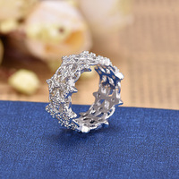Top Quality Fashion Personality Flash Cubic Zirconia Hollow Sky Stars Ring For Women