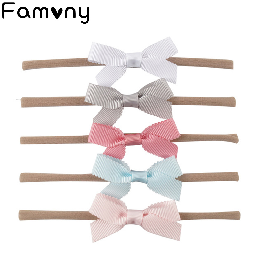 все цены на 5 Pcs/Set Boutique Baby Nylon Headband Solid Swallowtail Bowknot Elastic Fine Hair Band For Kids Hair Accessories