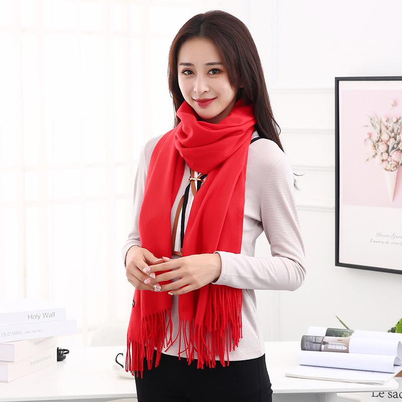 2019 New Imitation Cashmere Scarves Solid Color Thickening Long Snood Scarf Winter Warm Tassel Shawl For Women Fashion Scarves