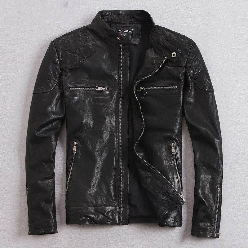 YOLANFAIRY 100% Natural Goat Skin Leather Jacket Men Spring Autumn Short Slim Motocycle Bomber Jackets Casacas De Cuero MF032