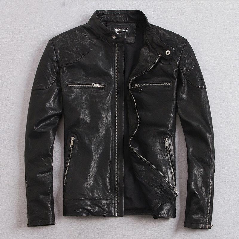 YOLANFAIRY 100% Natural Goat Skin Leather Jacket Men Spring Autumn Short Slim Motocycle Bomber Jackets Casacas De Cuero MF032