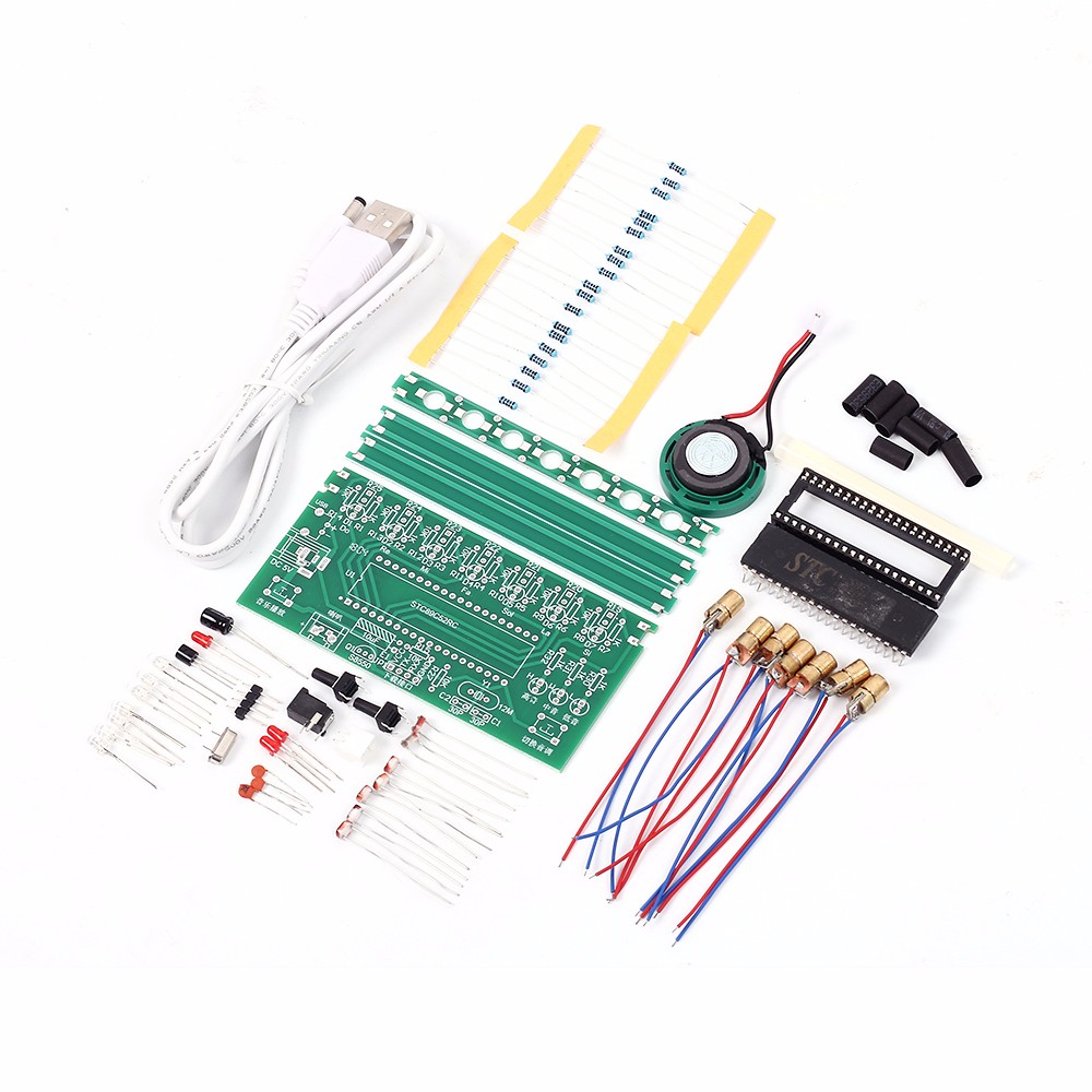 DIY Kit C51 MCU Laser Harp Kit String DIY Keyboard Kit Electronic Parts 7 Strings Electronic DIY Kit Technology Piano Music Box