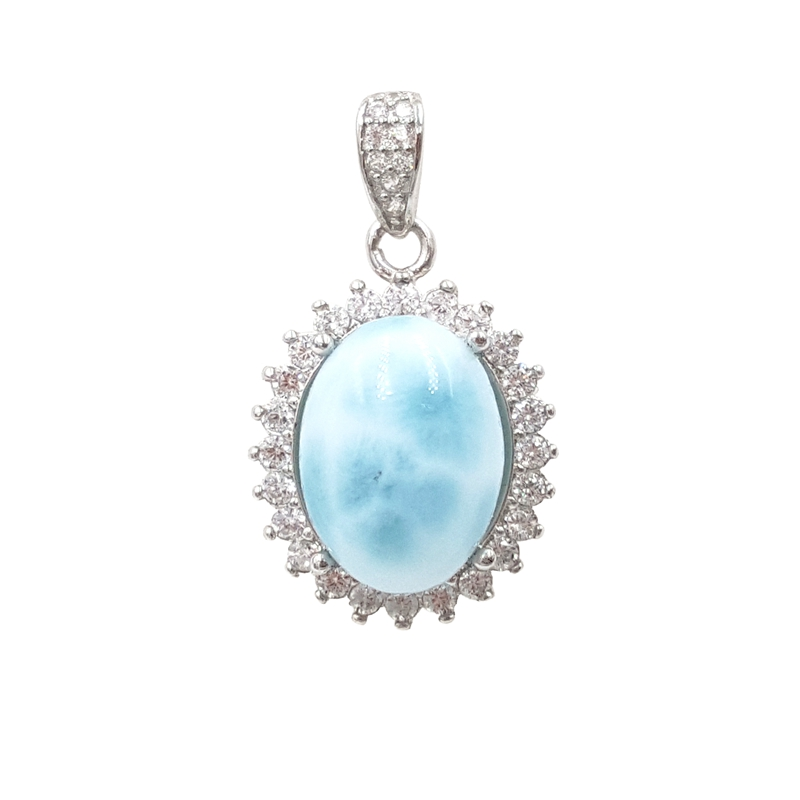 LiiJi Unique Natural Caribbean Blue Larimar 925 Sterling Silver Cabochon Shape with Cubic Zircon Pendant for women gift цена