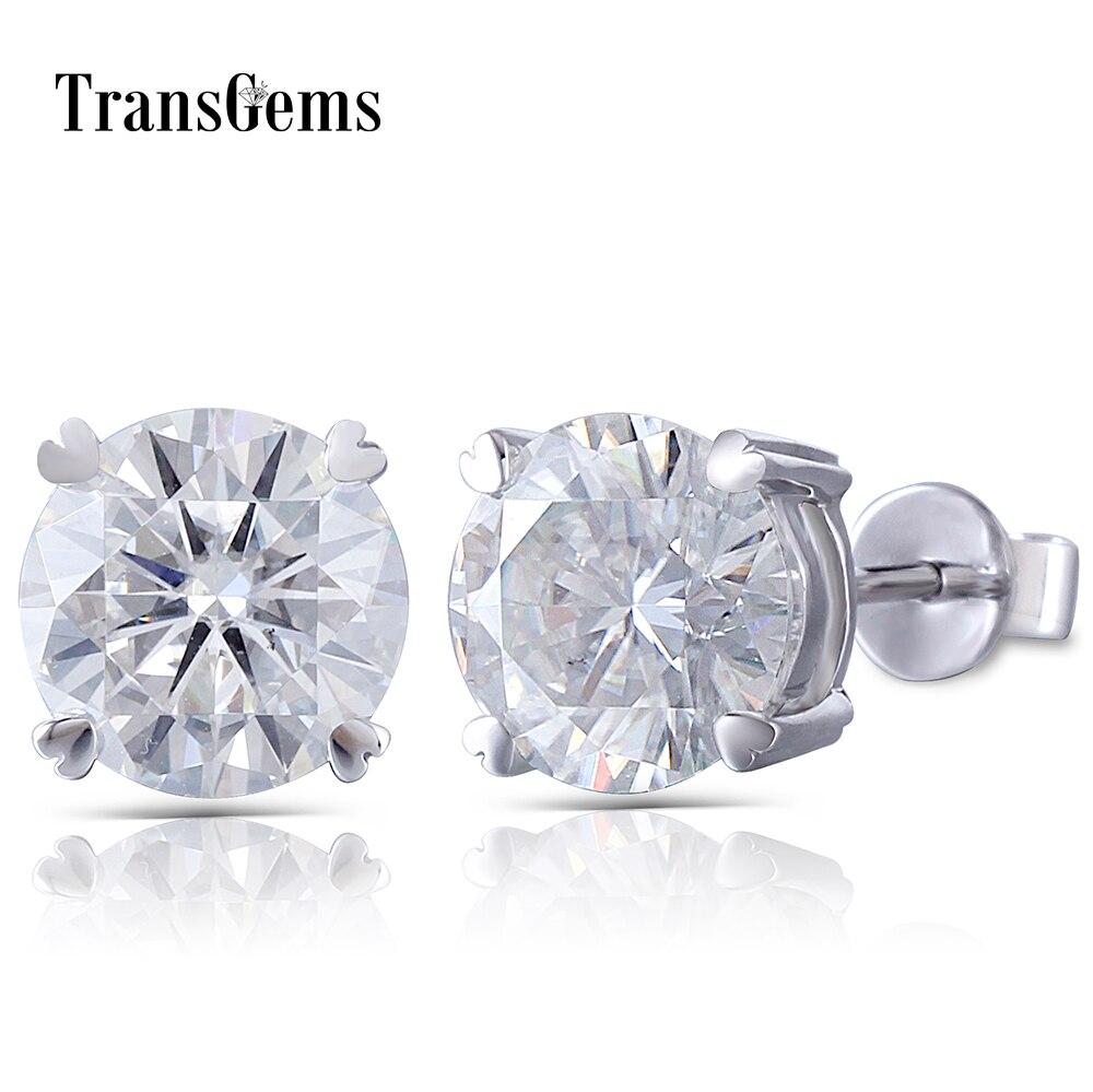 Transgems Center 9m 3ct Each Moissanite Stud Earrings 14K White Gold FG Color Excellent VVS Moissanite Diamond Earring Push Back