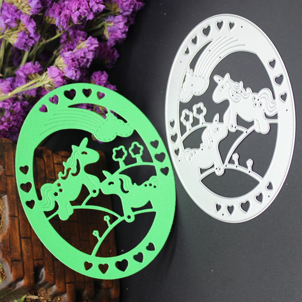 Oval with Two Cute Horses Heart Pattern Hollow Metal Cutting Die Stencil DIY Scrapbook Embossing Album Paper Card Craft Folder