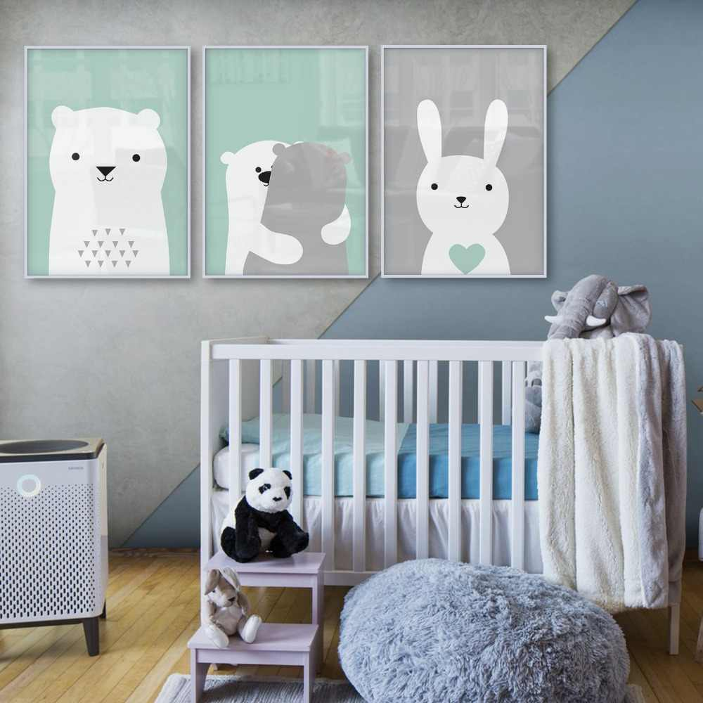 Baby Room Nordic Style Kids Decoration Bunny Bear Poster Wall Picture for Living Room Posters and Prints Wall Art Canvas Prints