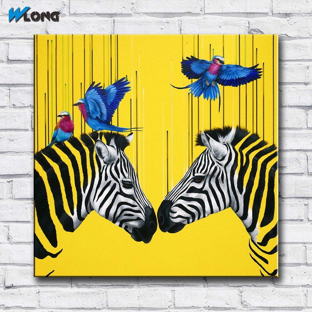 Wlong Art Printing Pop Oil Painting Canvas Two Zebras With Birds ...