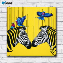 Buy zebra oil painting canvas and get free shipping on aliexpress wlong art printing pop oil painting canvas two zebras with birds wall art wall pictures altavistaventures Images