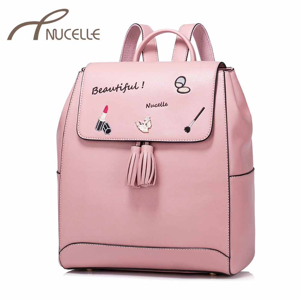 NUCELLE Women PU Leather Backpack Fashion Female Embroidery Daily Shoulder Bags Ladies All match Tassel Travel Rucksack NZ4978 2017 fashion all match retro split leather women bag top grade small shoulder bags multilayer mini chain women messenger bags