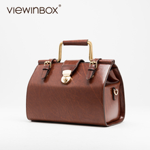 Viewinbox Vintage Luxury Handbags Women Bags Designer Fashion Setting Bag Case Women Madam Leather Shoulder Bag Doctor Handbags