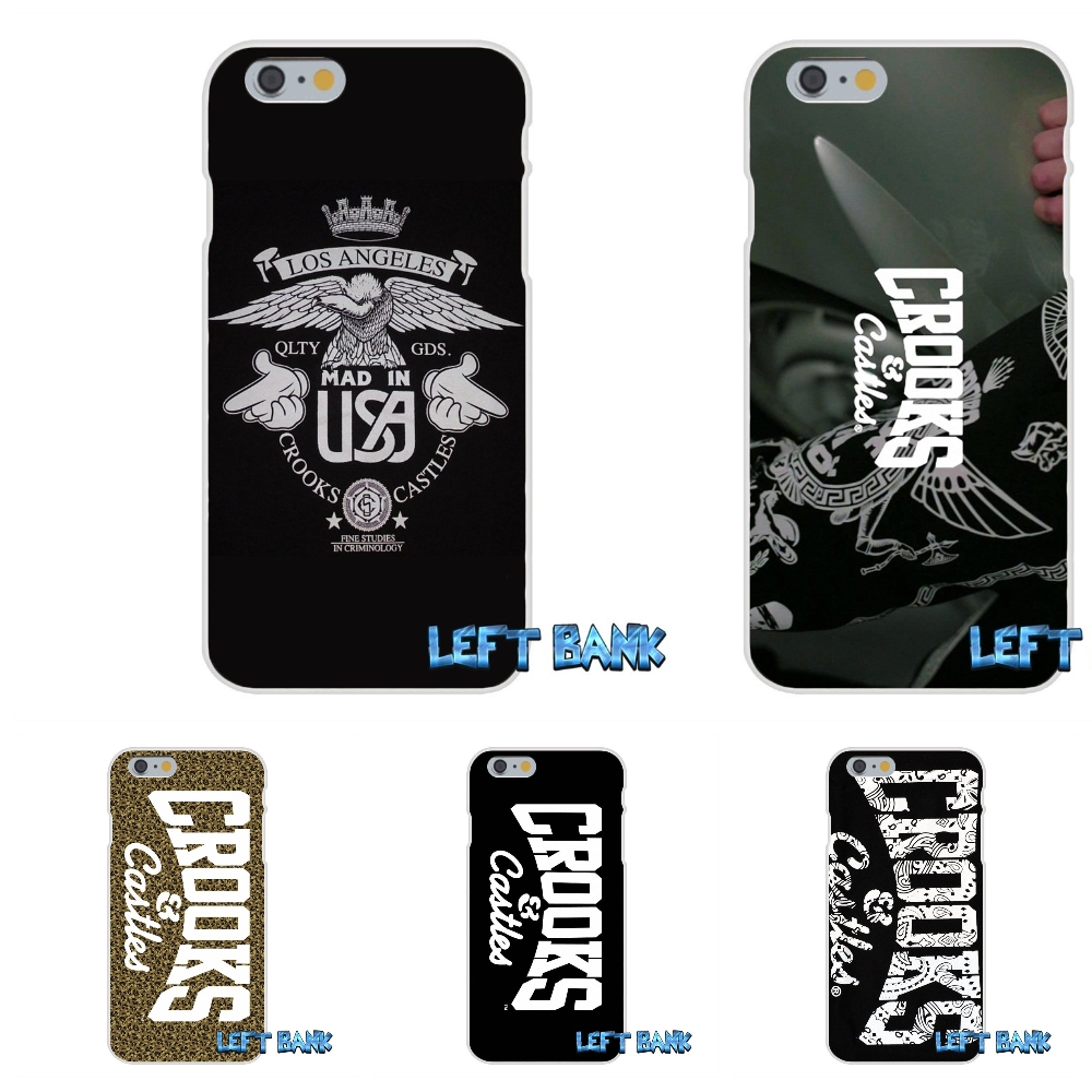 Crooks And Castles Soft Silicone TPU Transparent Cover Case For iPhone 4 4S 5 5S 5C SE 6 6S 7 Plus