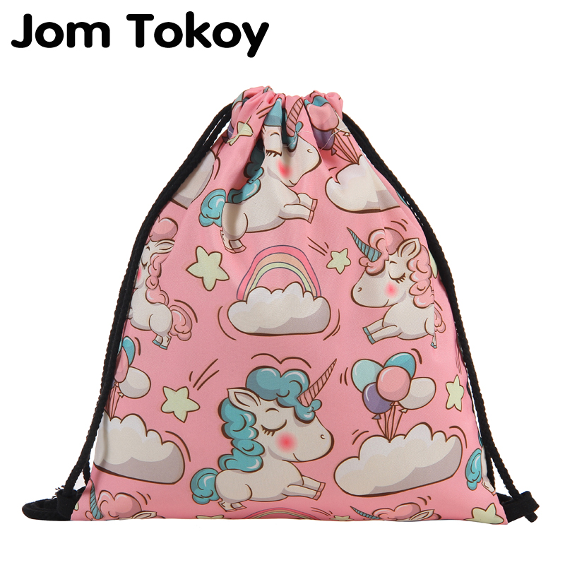 Jom Tokoy Fashion Drawstring Bag  3D Printing Unicorn Mochila Feminina Drawstring Backpack Women Daily Casual Girl's Knapsack