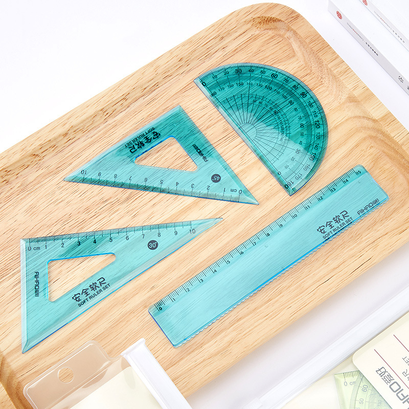 4 Pcs/set New Straight Ruler Protractor Students Math Geometry Soft Bendable Plastic Triangle Ruler Set Office School Supplies