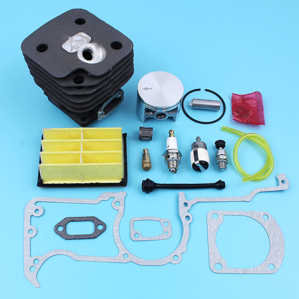 52mm Cylinder Piston W/ Gaskets Kit For Husqvarna 268 272 272K 272XP Chainsaw Air Filter Spark Plug Fuel Oil Filter Line Valve