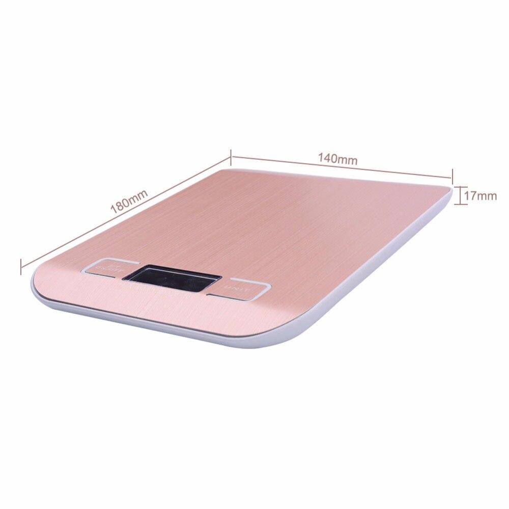 Цифровые кухонные весы yieryi, электронный прибор для измерения пищи, из нержавеющей стали, розовое золото, 10 кг/1 г-2