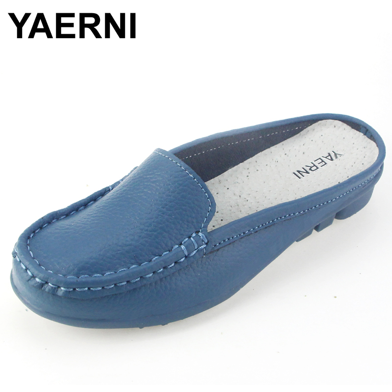 YAERNI Women sandals summer half slippers flip flops Genuine Leather sandals clogs Shoes Woman Plus Size 35-41 p3d18 summer women casual jelly shoes beach slippers breathable waterproof clogs for women hollow slippers flip flops shoes mule clogs