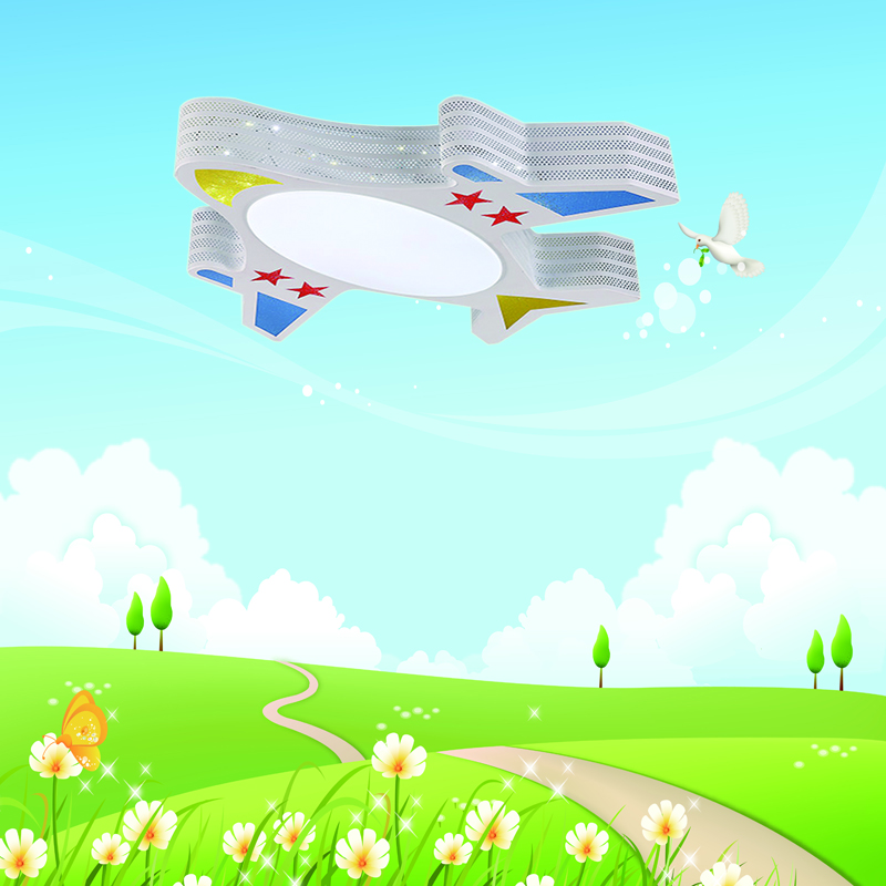 Newly Modern Airplane LED Ceiling Light Children Bedroom dimmable with remote control cartoon bedroom led lighting cartoon airplane style red